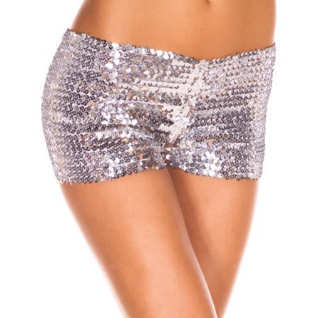 Shorts paillettes argento