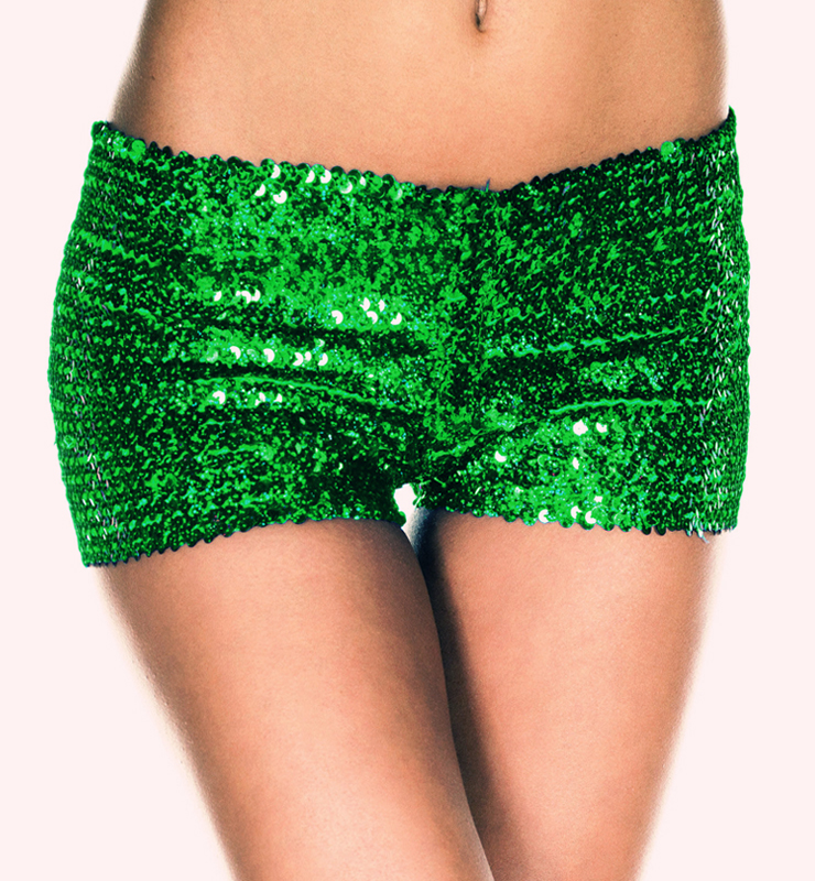 Shorts paillettes verde